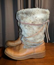 VINTAGE BATES FLOATERS SHEARLING LAMB FUR MUKLUKS BOOTS MOCCASIN BROWN LADIES 7