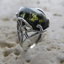 Size 8, Size P 1/2, Size 56, Green, BALTIC AMBER Ring, 925 STERLING SILVER #1796