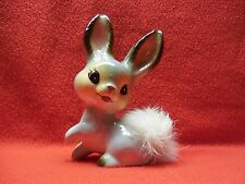 Vintage Ucagco '50's Blue Antrhopomorphic Japan Bunny With Real Fur Tail