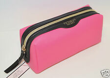 NEW VICTORIA'S SECRET HOT PINK BLACK MAKEUP COSMETIC BEAUTY BAG POUCH CASE SMALL