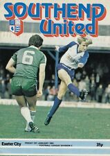 Southend United V Exeter City 1982 ,  Football League Division 3 match Programme