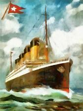 T.S.S TITANIC WHITE STAR LINE DISASTER WATERCOLOUR POSTER ART PICTURE 488PYLV