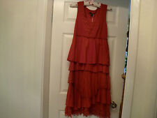 RED COTTON DRESS WITH LACEY LAYERS SUMMER DAY PARTY EVENING LADIES WOMENS M/L