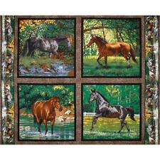 4 Horse Cushion Panels Cotton Quilting Fabric - Wild Wings Endless Summer