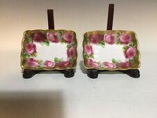 Pair 2 Rare Royal Albert Old English Rose WIDE GOLD Trinket Dish/Tidbit/Nut Bowl