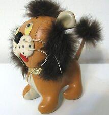 Rare Collectors Vtg 1964 Rabbit Fur Leather Happy Lion Japan Plush Toy Vinyl Cat