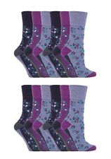 12 Prs Ladies SockShop Cotton Gentle Grip Socks 4-8 uk Sophie Floral Purple RH57