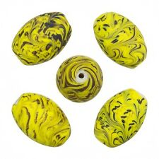 Sea Wave Design Yellow Oval Handmade Glass Beads 18x13mm Pack of 5 (A52/3)