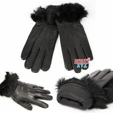 New Women's Winter Warm Genuine Leather Gloves Fur Thermal Insulation S Size
