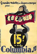 L'ARTE Annuncio pubblicitario Columbia Josephine Baker Deco Poster stampati