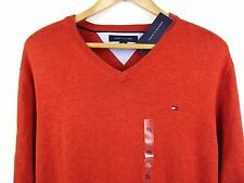 NEW MENS 100% GENUINE TOMMY HILFIGER V-NECK COTTON JUMPER DARK ORANGE XL RRP £85