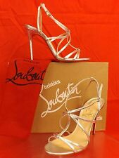NIB LOUBOUTIN YOUPIYOU 100 SILVER LEATHER  STRAPPY PEEP TOE SANDALS PUMPS 38.5