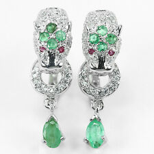 HUGE!! NATURAL AAA EMERALD & RED RUBY  925 SILVER EARRINGS 1 1/4""