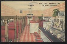 POSTCARD WARREN OH/OHIO SARATOGA RESTAURANT DINER INTERIOR 1930'S