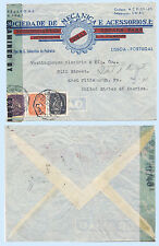 Portugal 1944 WW2 Aimail Advertising Censor Cover to USA #615 618 627