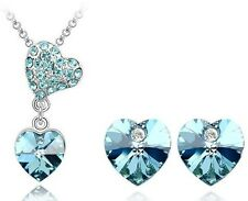 White Gold Plated Austrian Crystal Pendant Necklace Earring Set | Turquoise Blue