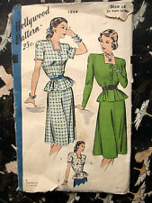 Vtg SEWING PATTERN Hollywood 1940's #1864 BELTED DRESS BLOUSE AND SKIRT sz 12