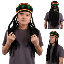 Rasta Hats Reggae Jamaican Hippie Dreadlocks Wig Beanie Caps Fancy Dress Costume