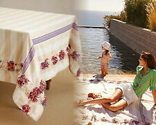 """Anthropologie Fringed Cortes Tablecloth 72"""" x 90"""" Ivory Red Blue Yellow Black"""