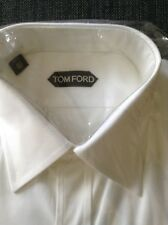 TOM FORD Mens White cotton poplin shirt 40 15 3/4 double cuffs NEW RRP £400