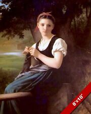 YOUNG PRETTY GIRL CHILD KNITTING KIDS ROOM CANVAS GICLEE 8X10 FRENCH ART PRINT