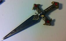 Collectible Replica Medieval Middle Ages Open Blade Sword Skull with Red Stones