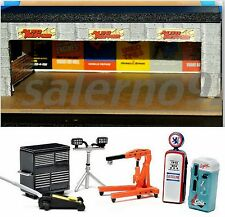 CUSTOM BUILT THREE CAR GARAGE BUILDING 1:64 (S) Scale DIORAMA WITH ACCESSORIES!