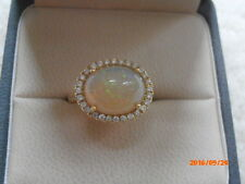 LAUREN K JEWELRY 18K YELLOW GOLD DIAMOND OPAL CABOCHON RING IN SIZE 6.5