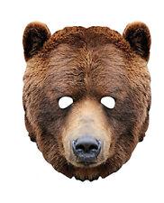Grizzly Braunbär Tiere einzeln Karton 2D Party Gesichtsmaske zoo safari