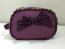 Camomilla Milano Cosmetic Bag - Beautiful Purple Pink Polka Dots Lines Bow Lace