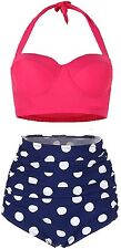 Amourri Womens Retro Vintage Polka Underwire High Waisted Swimsuit Bathing Suits