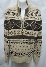 Lauren Ralph Lauren Brown Beige Cotton Indian Blanket Aztec Sweater L