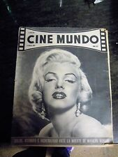 "MARILYN MONROE:VINTAGE SPANISH MAGAZINE UNIQUE COVER-""CINE MUNDO"" 1962-SEE!!"
