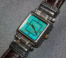 STUNNING Ecclissi Sterling Silver Square Brown Leather Turquoise Watch NEW BATT