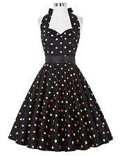 Damen 50er Jahre Pin Up Vintage Baumwolle Polka Kleid Party Tanzkleid Größe XL