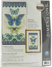 Peacock Butterflies Counted Cross Stitch Kit Dimensions NEW blue green folkart