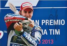 Jorge Lorenzo SIGNED MotoGP Champion YAMAHA Podium 12x8 Photo AFTAL