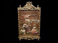 Antique Bradley & Hubbard Painted Cast Iron Easel Plaque Kitchen/Home Scene