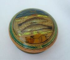 Pisces Fish Lacquered Wooden Hand Painted Hand Turned Trinket Box Snuff Pillbox