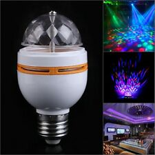 E27 3W RGB Crystal Ball Rotating LED Stage Light Bulb Fr Club DJ Disco Party hOt