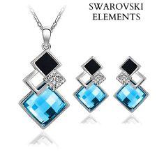 collier boucles d'oreilles Swarovski® Elements carrés BLEU TURQUOISE NOIR ARGENT