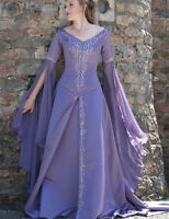Medieval Long Sleeves Wedding Dresses Fantasy Bridal Gowns Lavender Fairy Gown