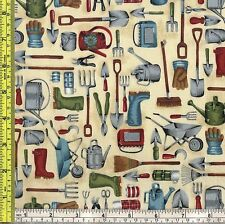 Garden Tools and Supplies 100% Cotton makower uk Sewing Fabric 1/4 yd 22.5 cm