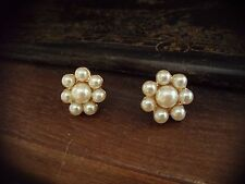 Vintage Round Cluster Pearl Pierced Earrings. Gold plated