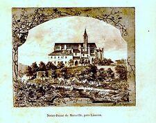GRAVURE SUR BOIS 19ème NOTRE DAME DE MARSEILLE PRES LIMOUX  AUDE