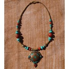 Collier Nepalais Tibétain Turquoise Corail Gypsy Boho