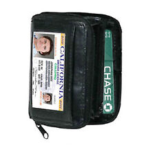 BLACK LEATHER WALLET ACCORDION FAN OPEN ID Window Coin Credit Card Holder PW01