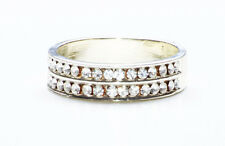 DARLING DOUBLE ROW OF DIAMANTES SLIM SILVER METAL RING FOR DAY OR NIGHT (ZX42)