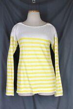 ANN TAYLOR LOFT Top SMALL White Yellow Stripe Cotton Knit Long Sleeve Boat Neck