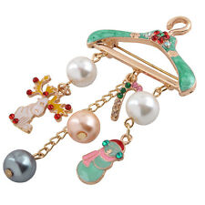 Beauty Brooch Gorgeous Rhinestone Crystal Christmas Snowman Deer Pin Party Gift
